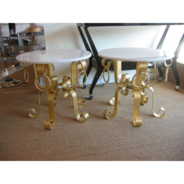 Gold Leaf Pair of Vintage Italian Gold Leaf Iron and Marble Top End / Side Tables For Sale - Image 7 of 10