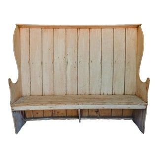 19th Century English Pine Settle For Sale