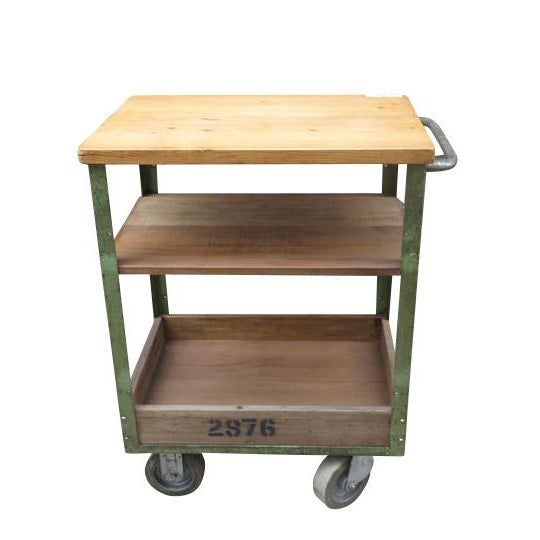 Mid 20th Century Vintage English Metal and Wood Rolling Cart For Sale - Image 5 of 5