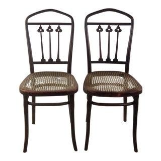 Vintage Art Nouveau Style Side Chairs - a Pair