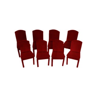 1970s Milo Baughman Ruby Mohair Velvet Dining Chairs - Set of 8