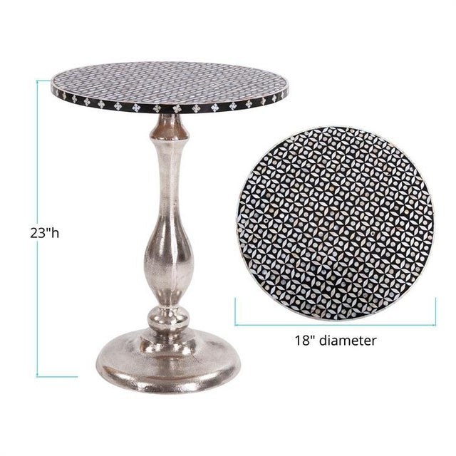 2020s Kenneth Ludwig Nickel Metal With Bone Top Martini Table For Sale - Image 5 of 6
