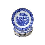 Image of English Blue Willow Luncheon Plates, S/8 For Sale