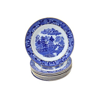 English Blue Willow Luncheon Plates, S/8 For Sale