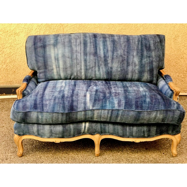 Early 20th Century Antique French Dip-Dyed Ombre Indigo Fabric Settee For Sale - Image 10 of 10