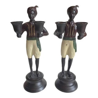 Antique Bronze Cold Painted Candlesticks Italian Double Arm - A PAIR