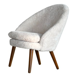 Danish 1950s Easy Chair Covered in Shearling Sheepskin by Ejv. Johansson For Sale