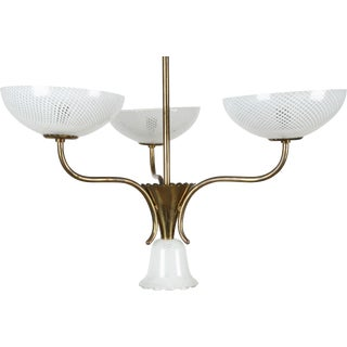 Seguso Filigreed Three-Arm Chandelier For Sale