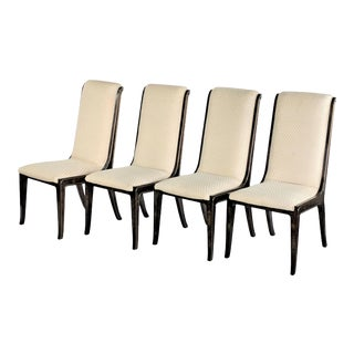 1970s Vintage Amboyna Wood Dining Chairs by William Doezema for Mastercraft - Set of 4 For Sale