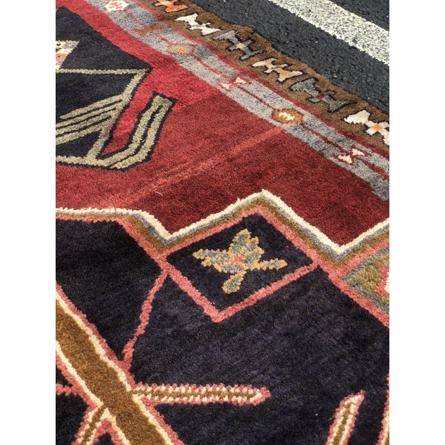 "1950s Art Deco Persian Meshkin Wool Runner - 3'8""x11'7"" For Sale - Image 10 of 13"