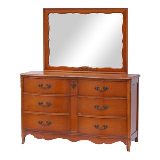 Vintage Bassett French Provincial Solid Wood Credenza With Matching Mirror