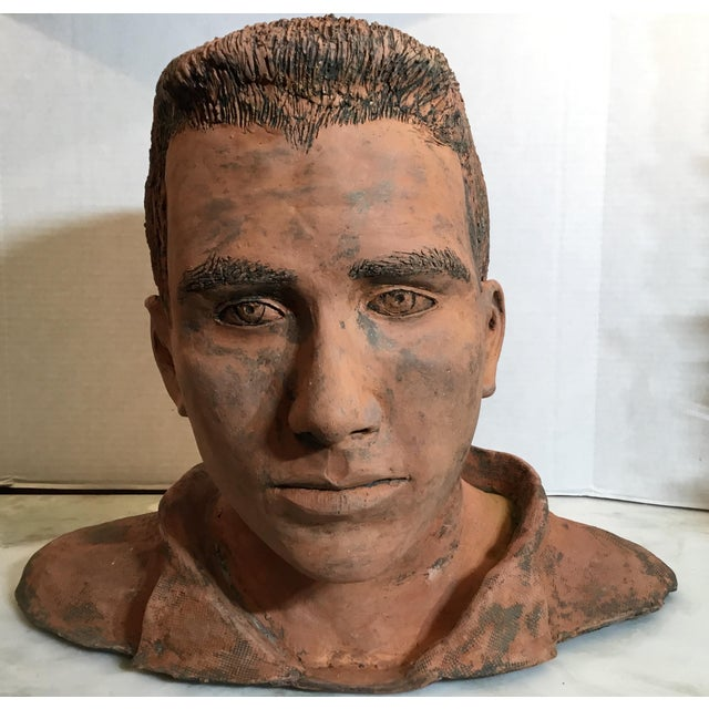 Young Man Terra Cotta Bust Signed MD For Sale - Image 10 of 13