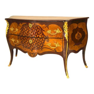 Elegant 18th Century Two-Drawer Commode With Gilt Bronze Trim For Sale