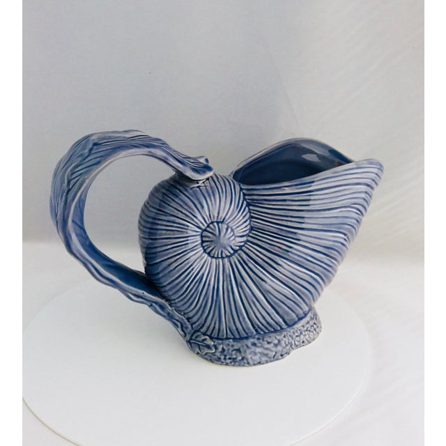 Italian Blue Nautilus Pitcher and White Seashell Shakers Ceramic - the Set For Sale - Image 3 of 9