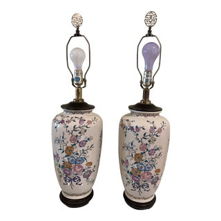 Tall Vintage Cream Porcelain Underwriters Laboratories Table Lamps With Floral Art- a Pair For Sale