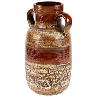 Brown and Neutral Glazed Vase With Handles From France Circa 1950 For Sale