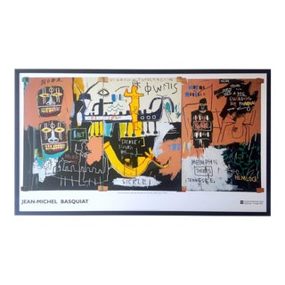 "Jean Michel Basquiat Estate Rare Collector's Iconic Lithograph Print Monumental Xtra Large Framed Exhibition Poster "" History of Black People "" 1983 For Sale"