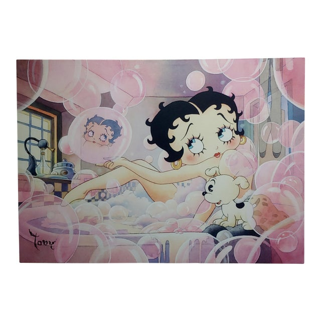 Toby Bluth-Betty Boop Bubbles Bath W/ Pudgy -Giclee Painting on Canvas-Signed For Sale