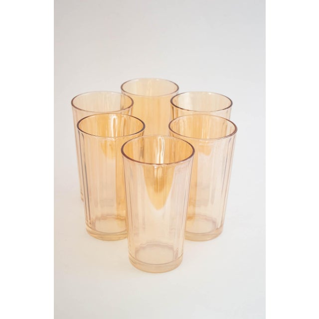 "Glass Jeanette Glass Marigold ""Optic Pillar"" Tumbler Set/6 For Sale - Image 7 of 7"