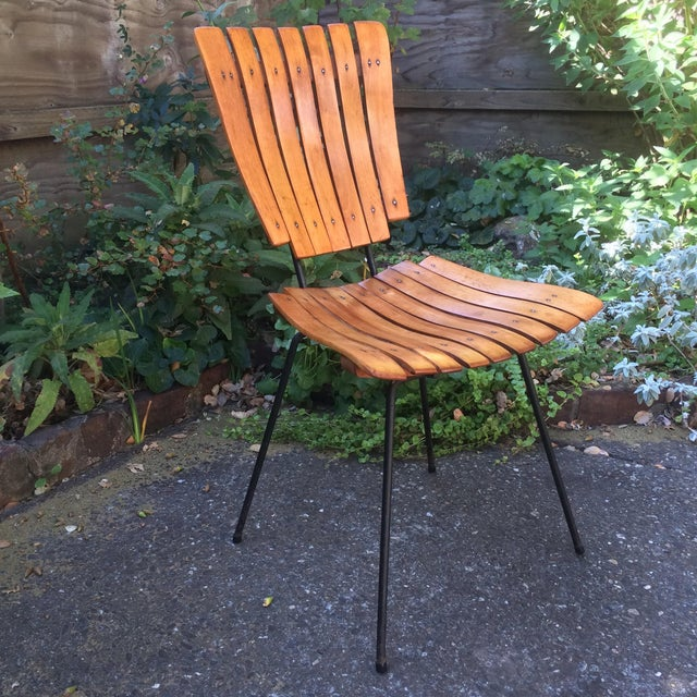 Mid-Century Modern 1950s Vintage Umanoff Slat Dining Chairs- Set of 6 For Sale - Image 3 of 13