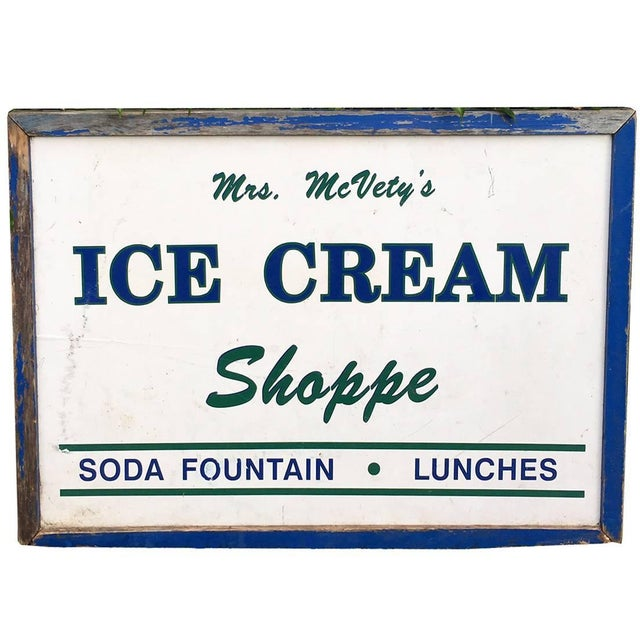 Antique Hand Painted Ice Cream Shoppe Sign - Image 1 of 9