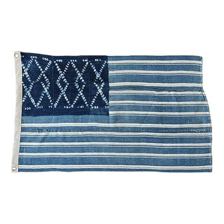 "28"" X 17"" Custom Tailored Blue & White Flag From African Textiles"