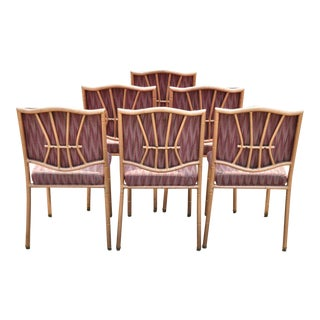 Shelby Williams Faux Bamboo Pink Rose Gold Upholstered Banquet Chairs - Set of 6 For Sale