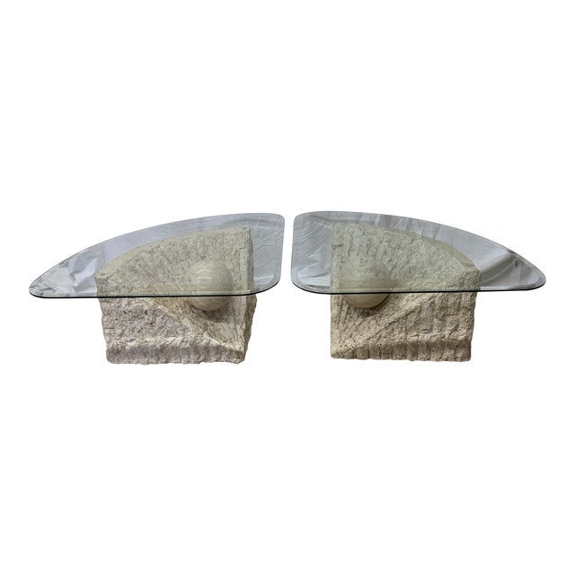 Vintage Post Modern Tessellated Stone Coffee End Tables - a Pair For Sale