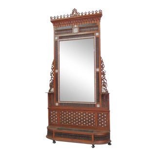 Moroccan Carved Inlaid Hall Rack