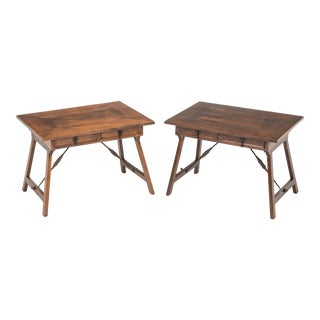 Side Tables, Pair, Antique English Walnut For Sale