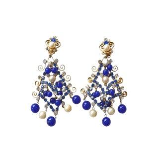 Kjl Blue 60s Rhinestone Earrings For Sale