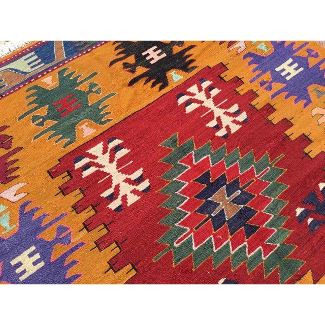 Orange Turkish Kilim Rug For Sale In Raleigh - Image 6 of 9