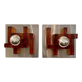 Poliarte Italian Murano Glass 1960s Wall Lights - a Pair For Sale