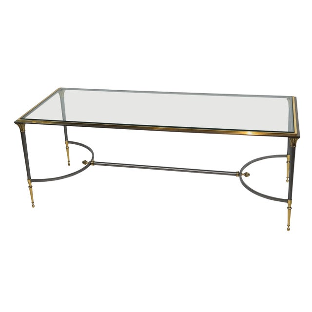 1970s Maison Charles Brass and Chrome Coffee Table For Sale - Image 5 of 7