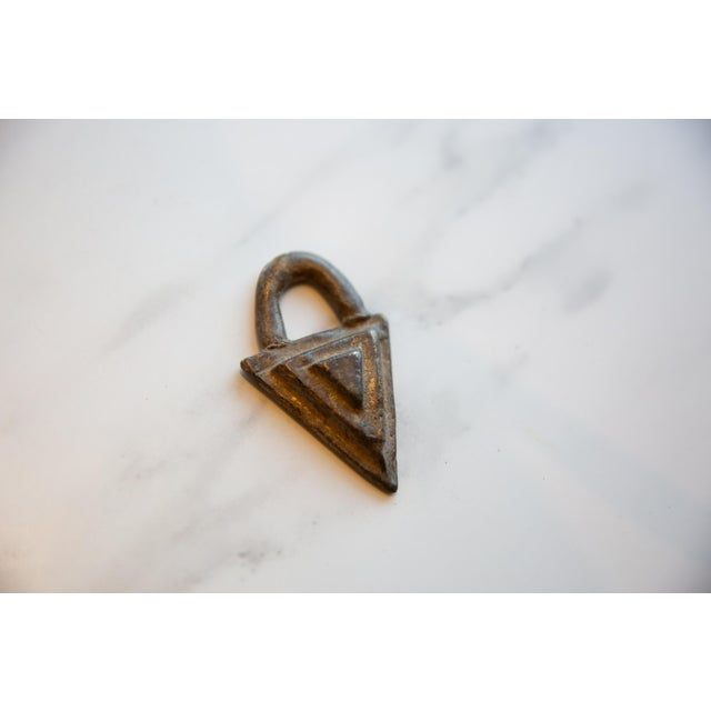 Old New House Vintage African Bronze Decorative Triangle For Sale - Image 4 of 6