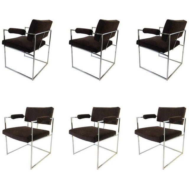 Set of Six Chrome Armchairs by Milo Baughman for Thayer Coggin For Sale - Image 11 of 11