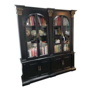 Black Bookcase With Brass Column Accents For Sale