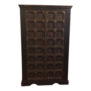 1920s Asian Reclaimed Carved Door W Metal Accents Armoire For Sale