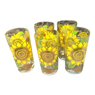 Georges Briard Gold Sunflower Glasses - Set of 5