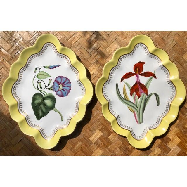 Large Vintage Chelsea House Scalloped Porcelain Botanical Floral Plates- a Pair For Sale - Image 12 of 12