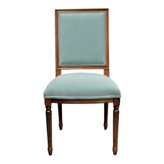 Louis XVI Style Square Back Dining Chair Upholstered in a Robin Egg Blue Washable Velvet For Sale