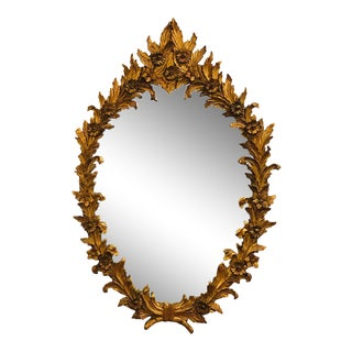Wood and Gesso Italian Circa 1940s Finely Carved Wall or Console Mirror For Sale
