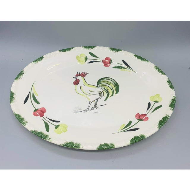 1950s 1950s Blue Ridge Rooster Platter From Southern Potteries For Sale - Image 5 of 8