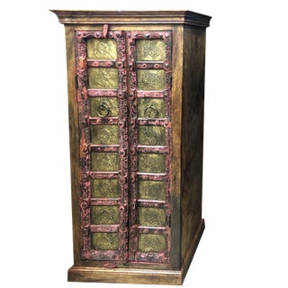 1920s Mediterranean Rustic Armoire Indian Brass Armoire For Sale
