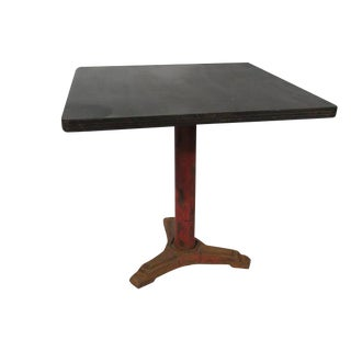 1930s French Industrial Iron Base Bistro Table