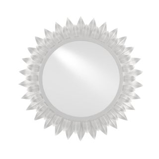 Currey and Co. Modern White Metal Starburst August Wall Mirror For Sale