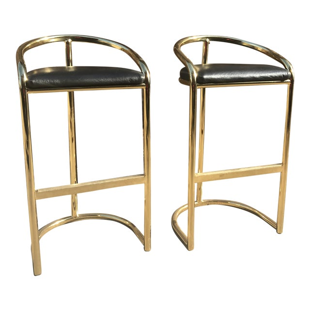 Milo Baughman Style Brass Bar Stools - A Pair - Image 1 of 7