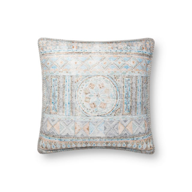"""Contemporary Justina Blakeney X Loloi Blue / Multi 18"""" X 18"""" Cover with Down Pillow For Sale - Image 3 of 3"""
