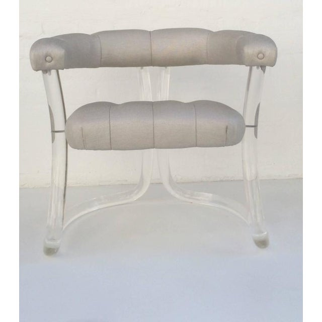 White Pair Sculpted Acrylic Armchairs For Sale - Image 8 of 10