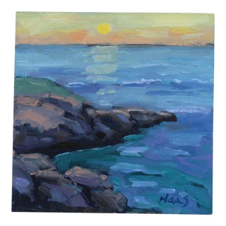 Original Oil Painting Seascape, Sunset at Mendocino Headlands For Sale